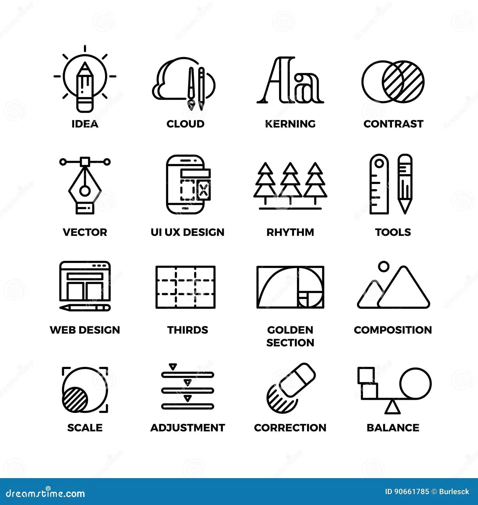 El Proceso Y El Diseno Creativos Bosquejan Iconos Del