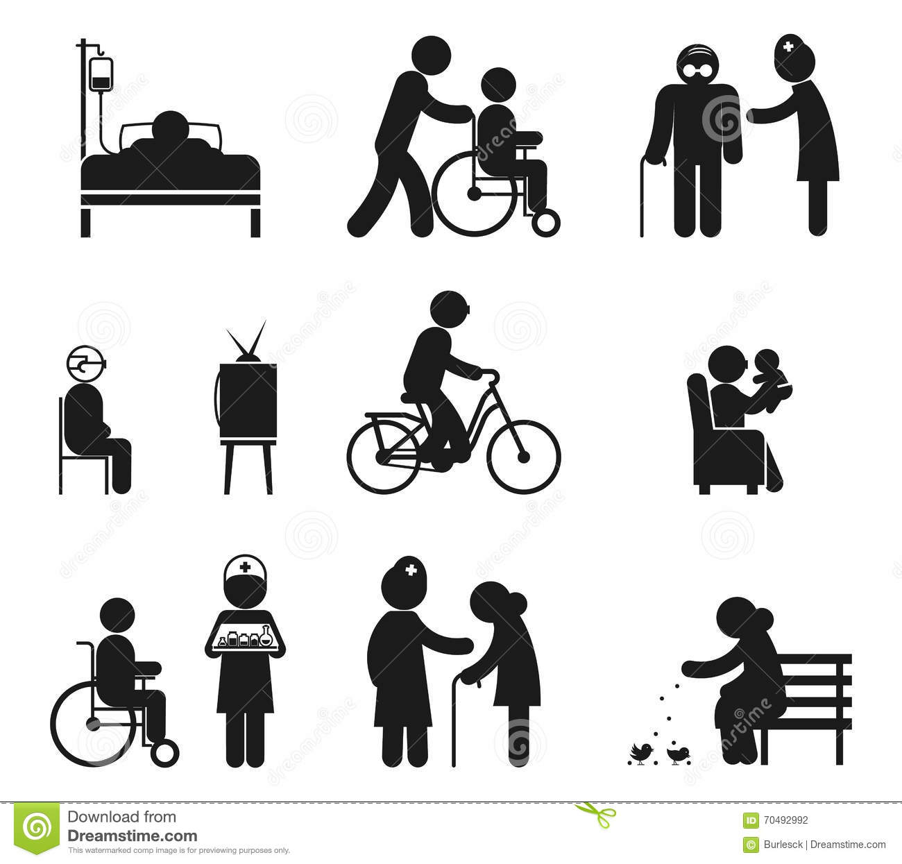 Elderly Care Icons Stock Vector Image Of Doctor Care