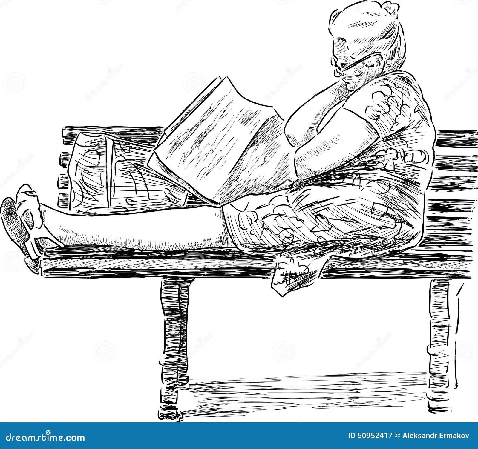 Elderly Woman On A Park Bench Stock Vector