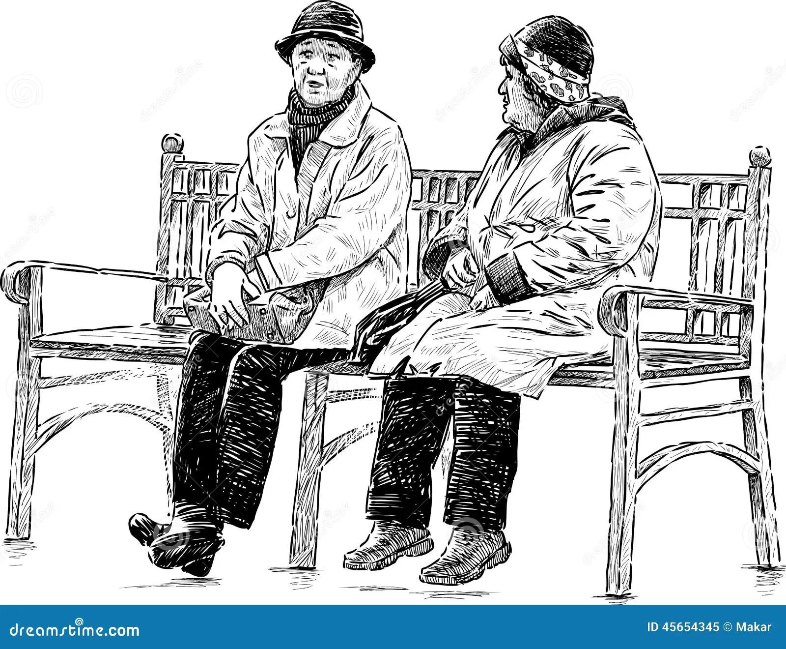 Elderly Women On The Park Bench Stock Vector