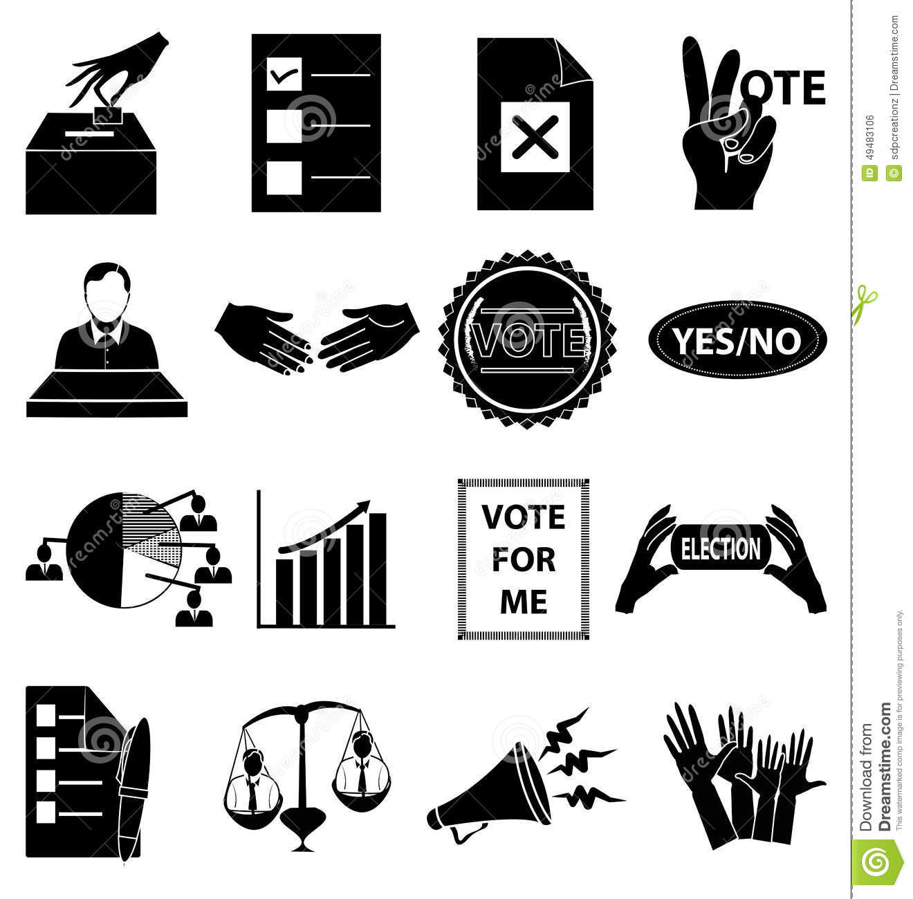 Election Vote Icons Set Stock Vector