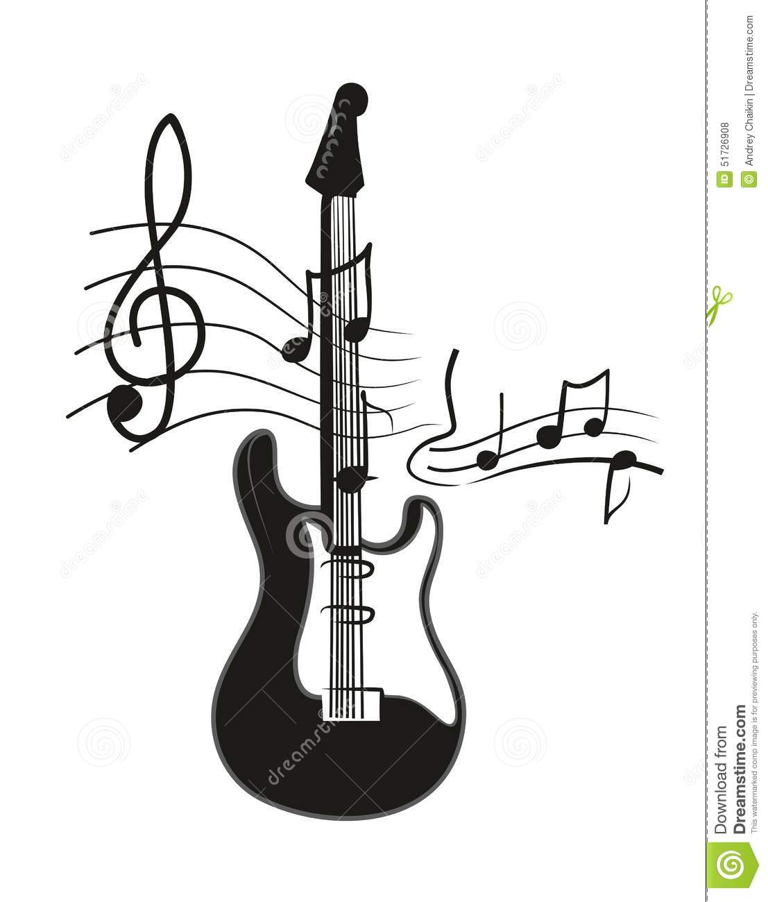 Electric Guitar Stock Vector Illustration Of Notes