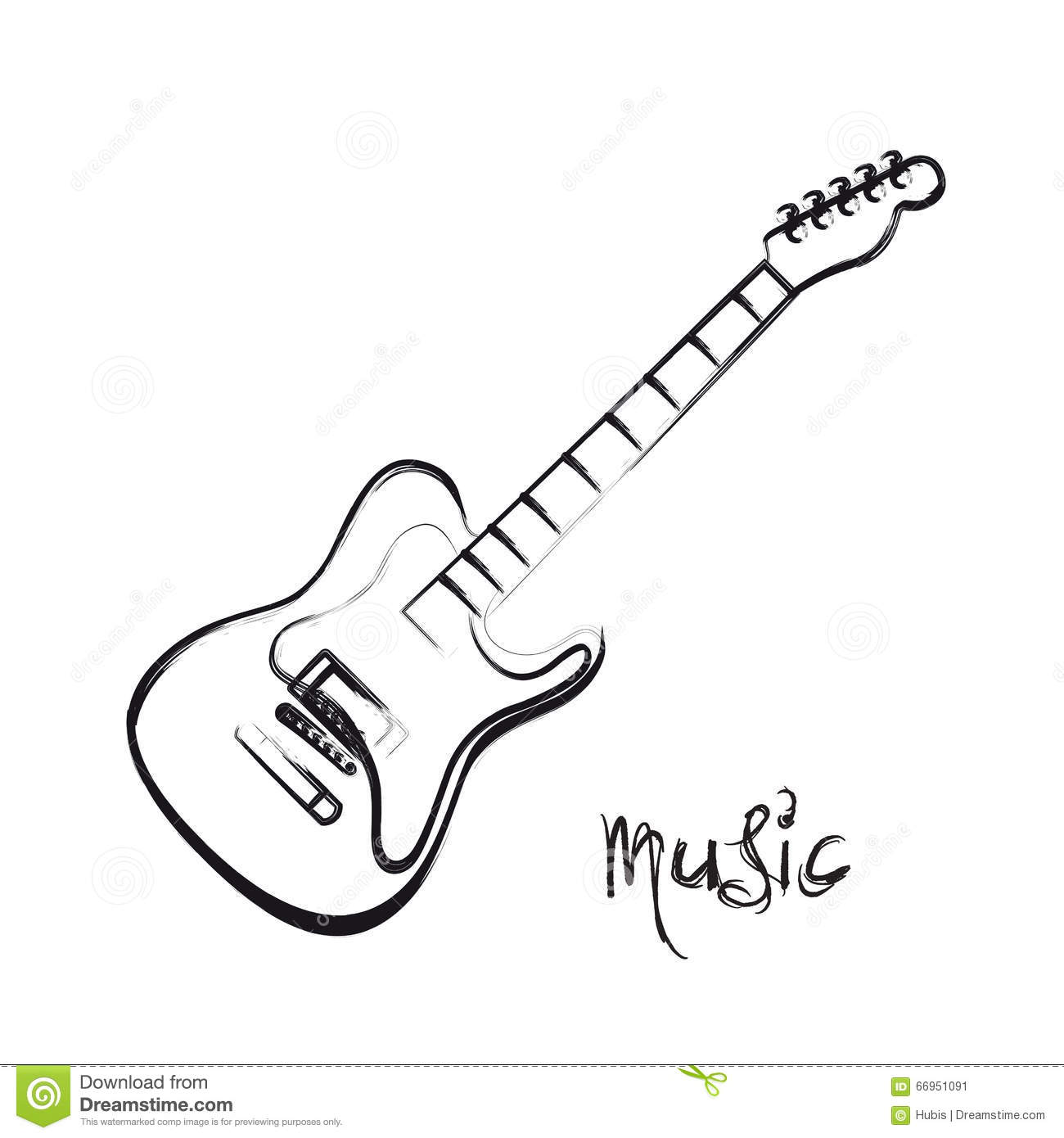 Electric Guitar Hand Drawn Stock Vector Illustration Of