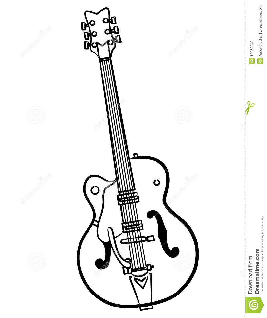 Electric Guitar Line Art Vector Illustration Royalty Free