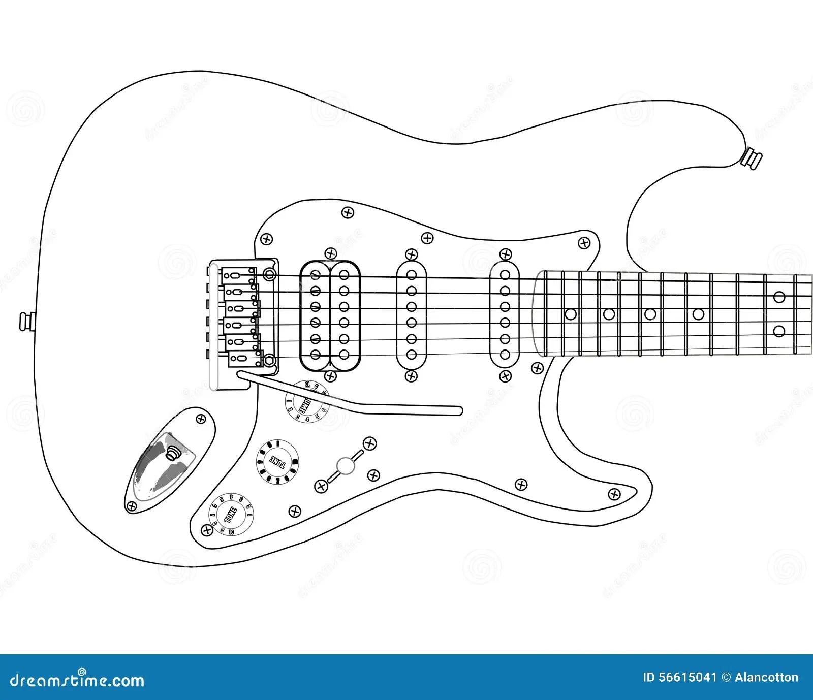 Electric Guitar Outlines Stock Illustration Illustration