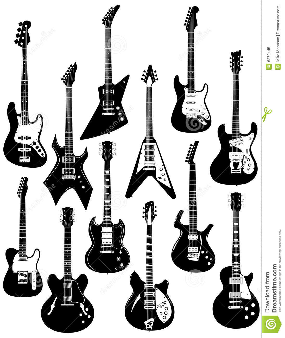 Electric Guitars On White Stock Vector Illustration Of
