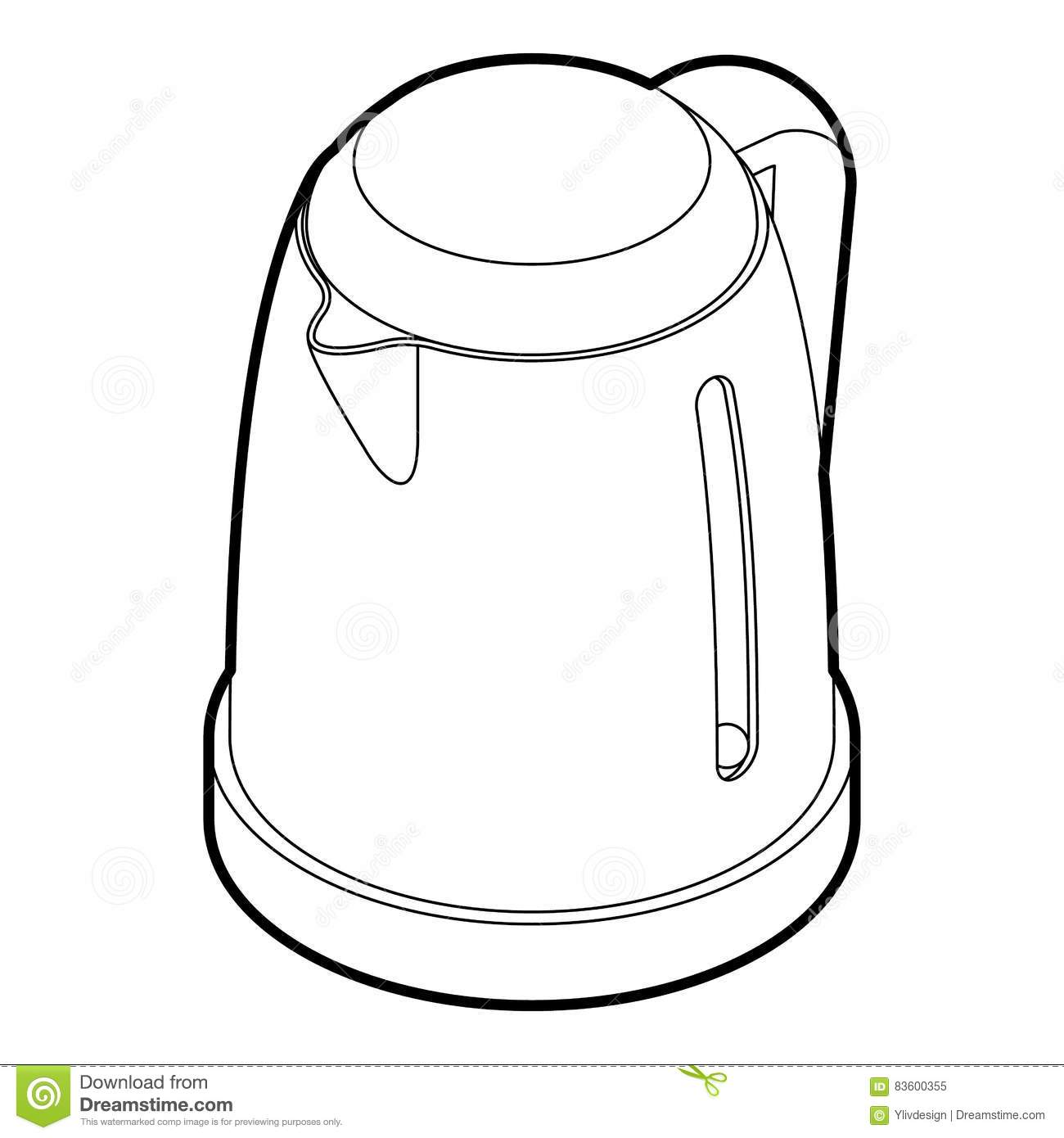 Electric Kettle Icon Outline Style Stock Image
