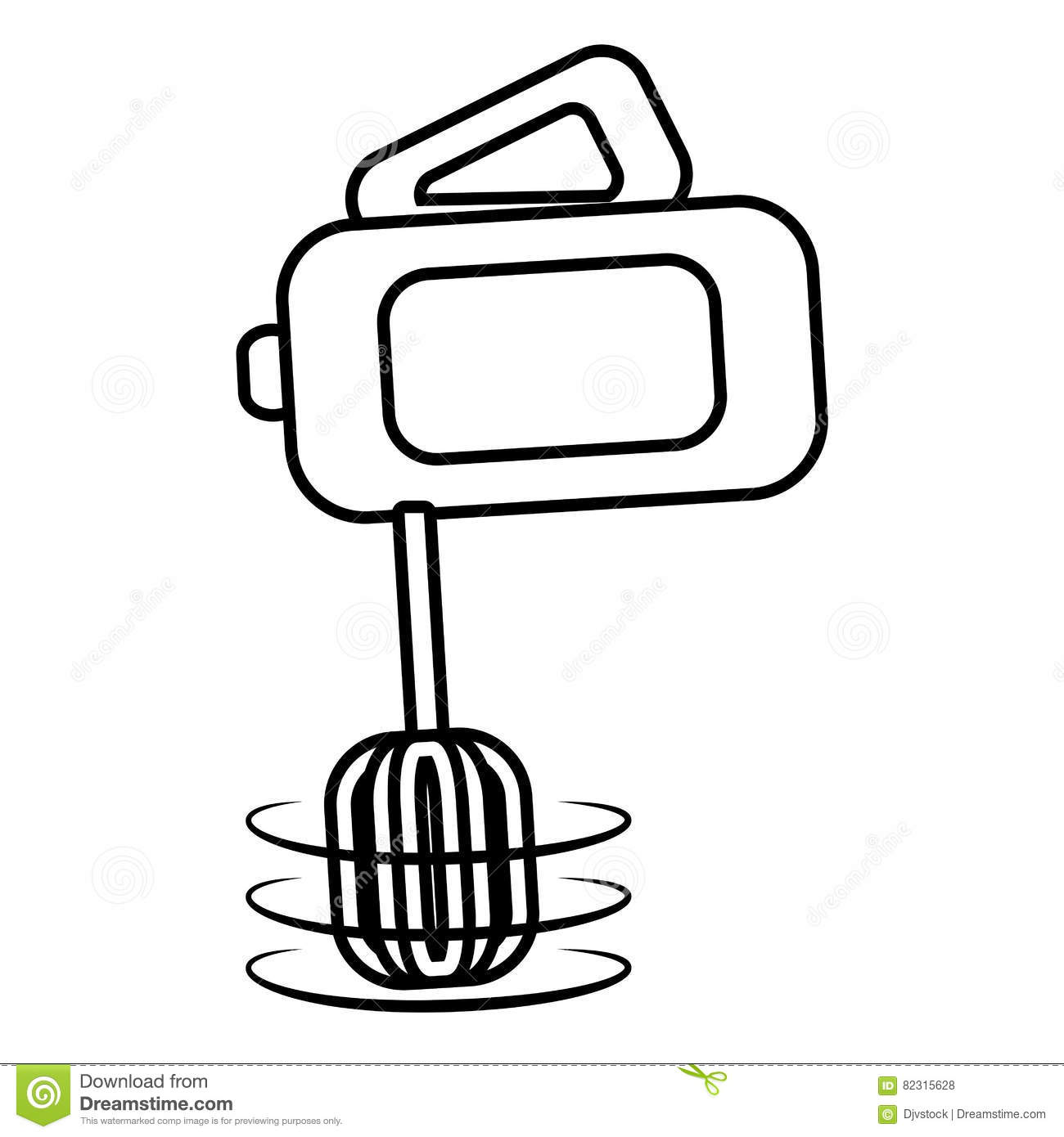 Electric Mixer Cooking Kitchen Appliance Outline Stock Illustration