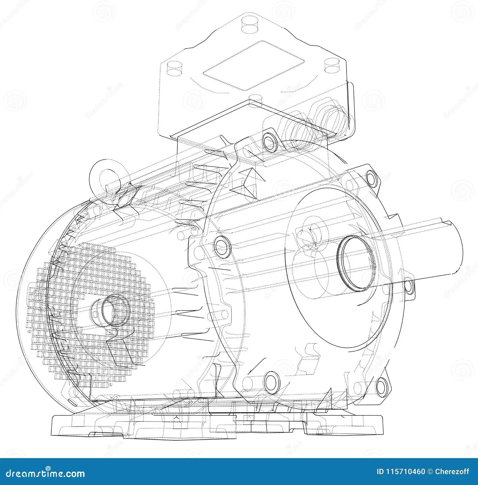 Electric Motor Outline Vector Stock Vector