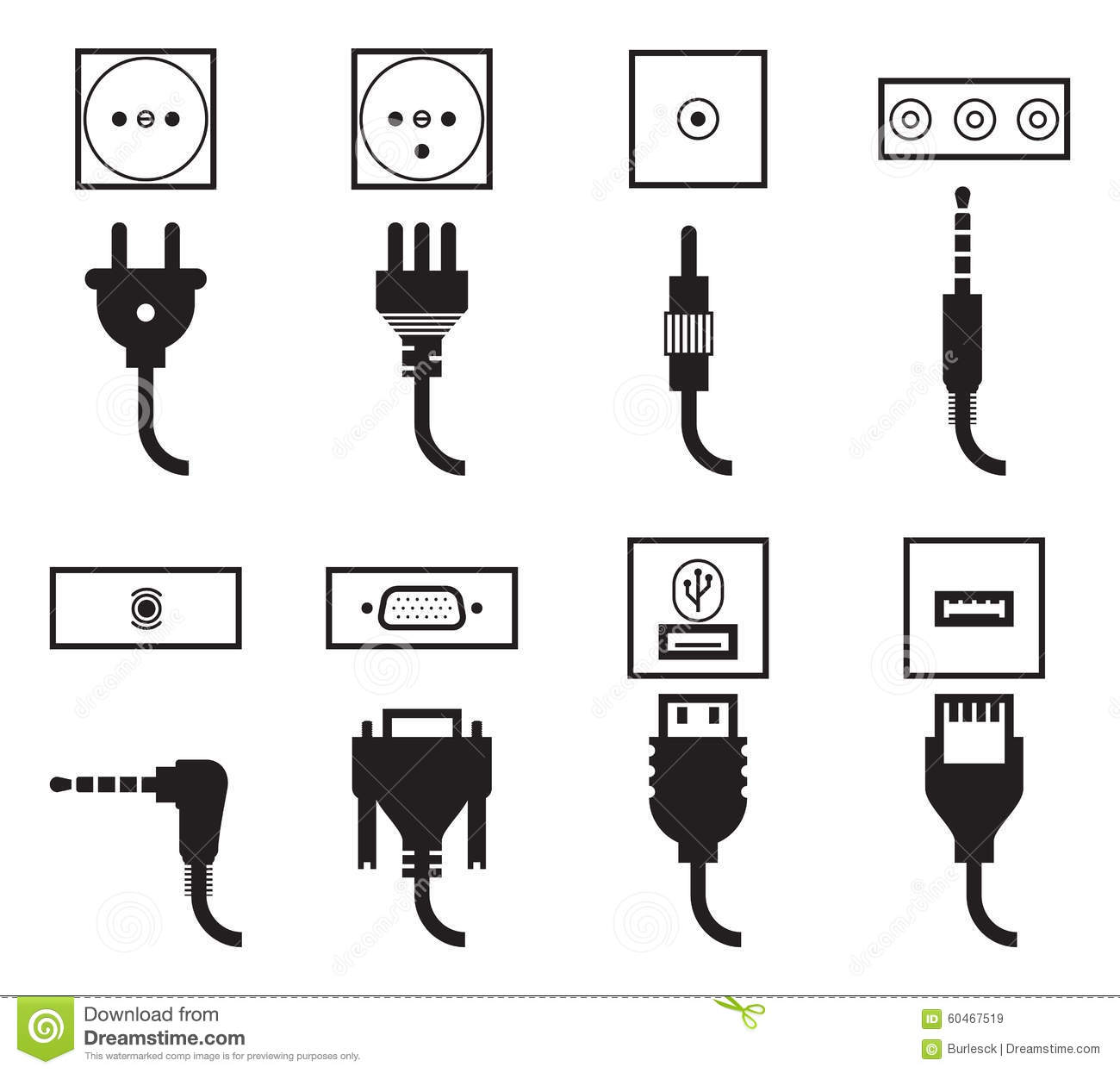 Plug Icons Cartoon Vector