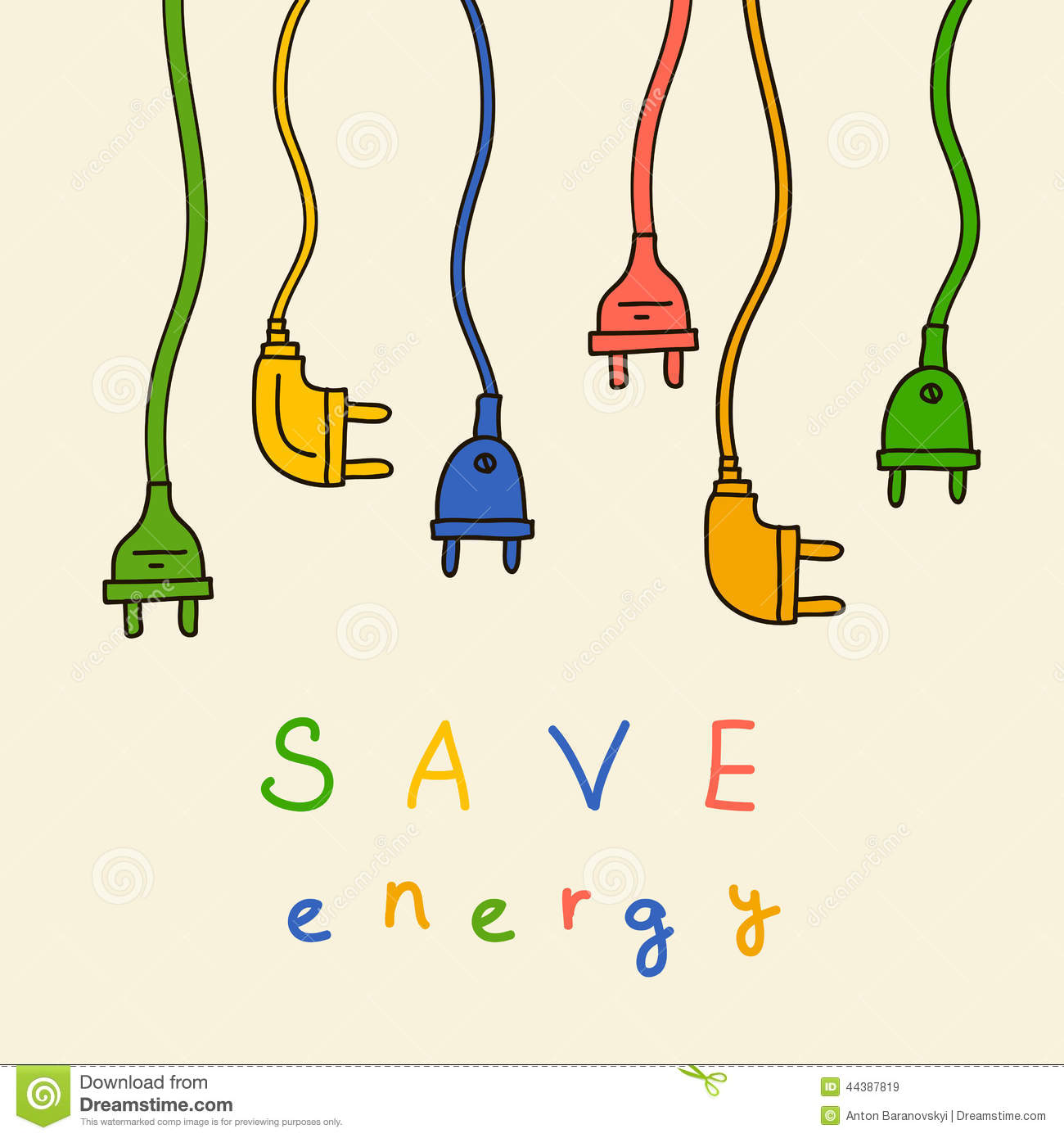 Electric Plug In Color Save Energy Stock Illustration