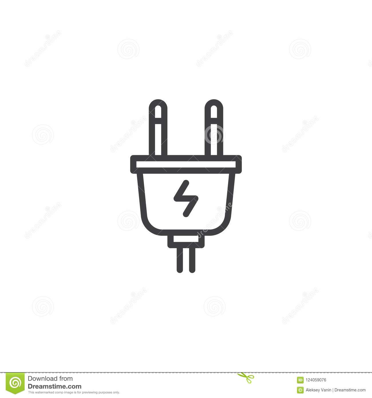 electric plug outline icon stock vector illustration of