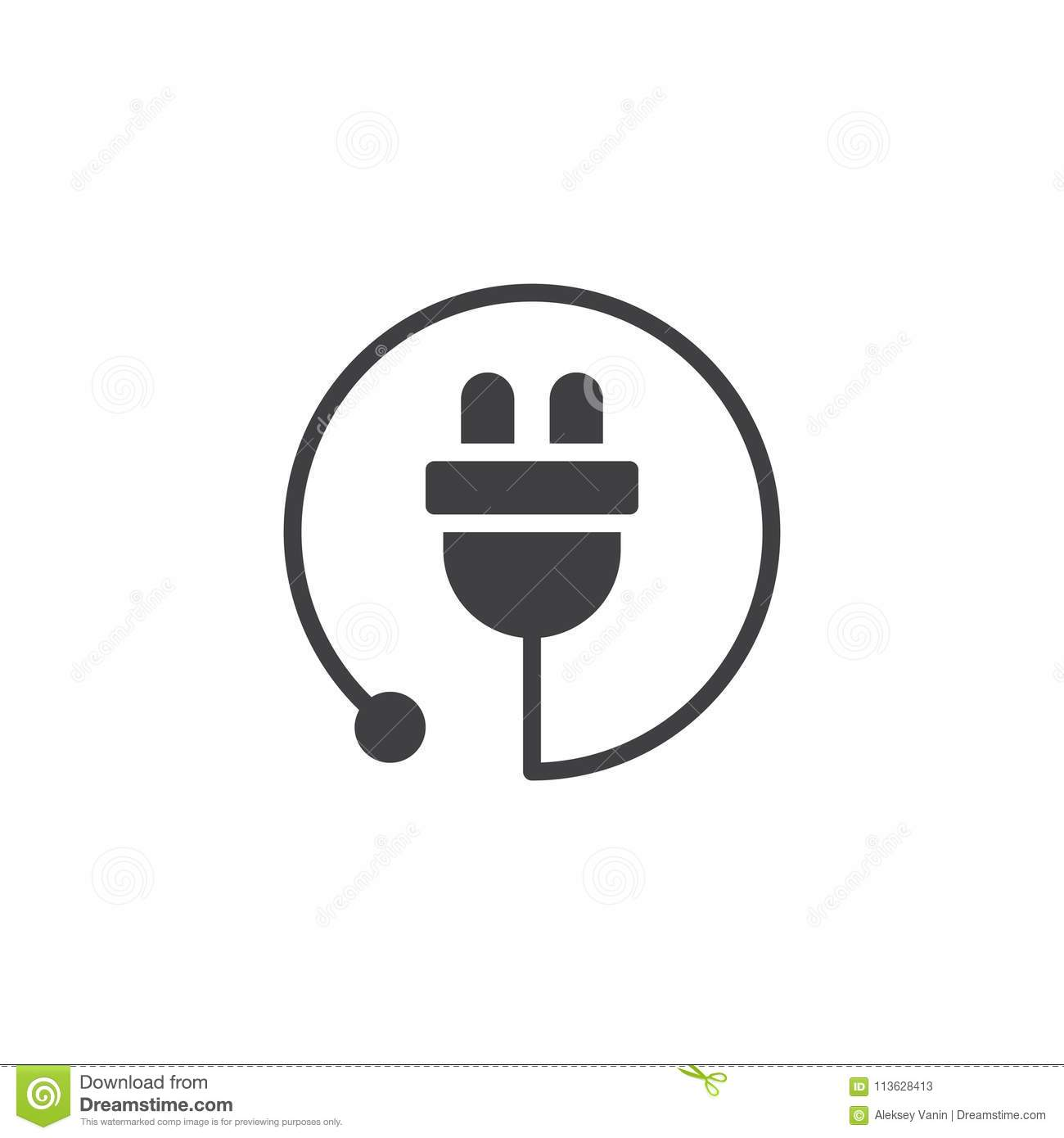 Electric Plug Vector Icon Stock Vector Illustration Of