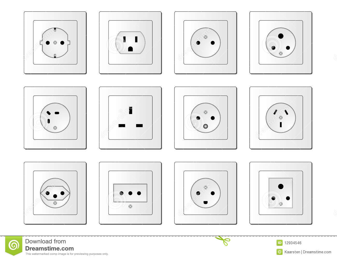 Electric Sockets Worldwide Stock Vector Illustration Of