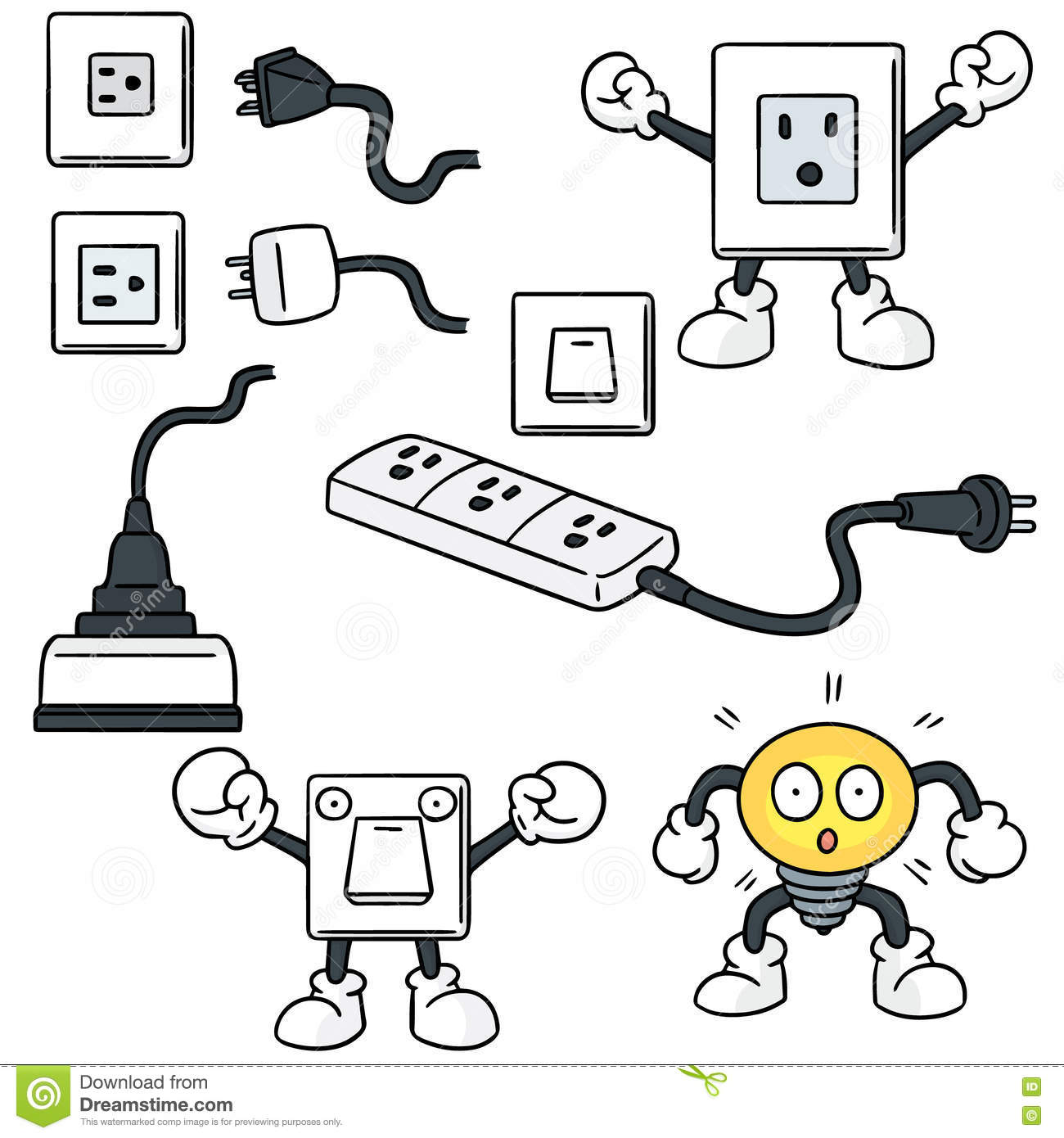 Electric Switch And Plug Stock Vector Illustration Of