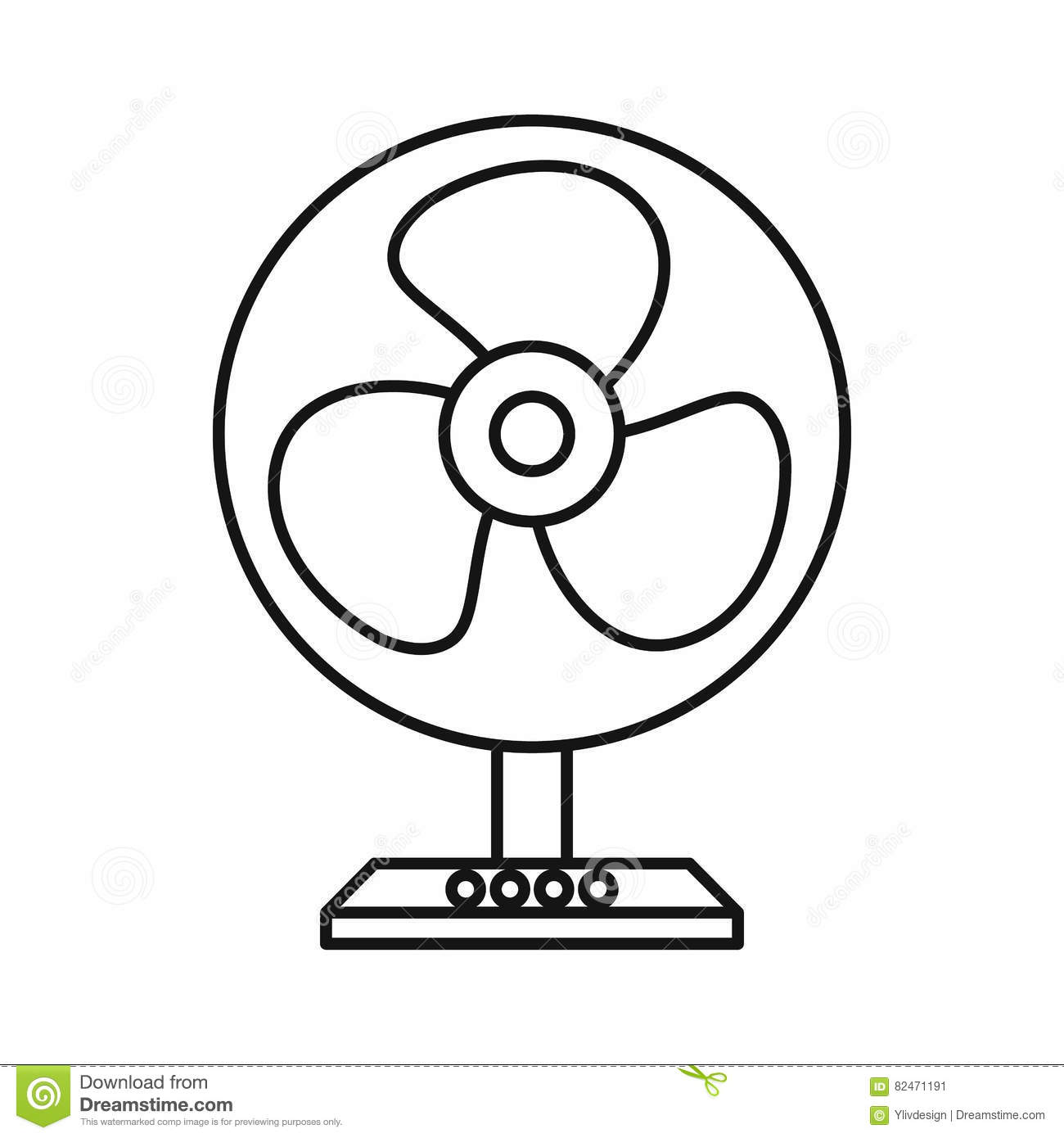 Electric Table Fan Icon Outline Style Stock Vector