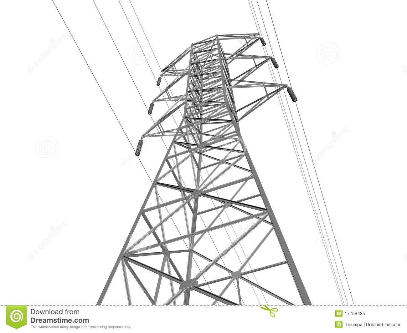 Electric Transmission Line Stock Illustration