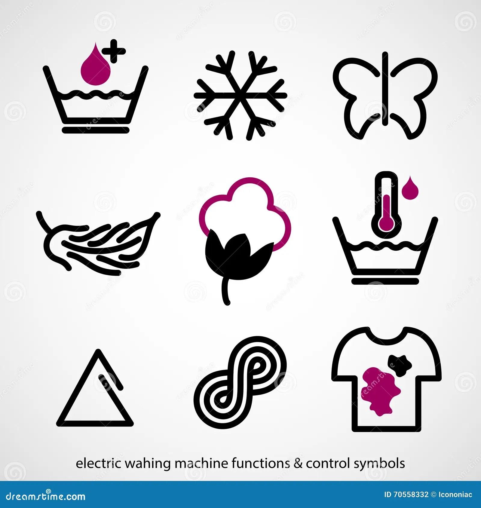 Electric Washing Machine Functions Amp Control Symbols Stock