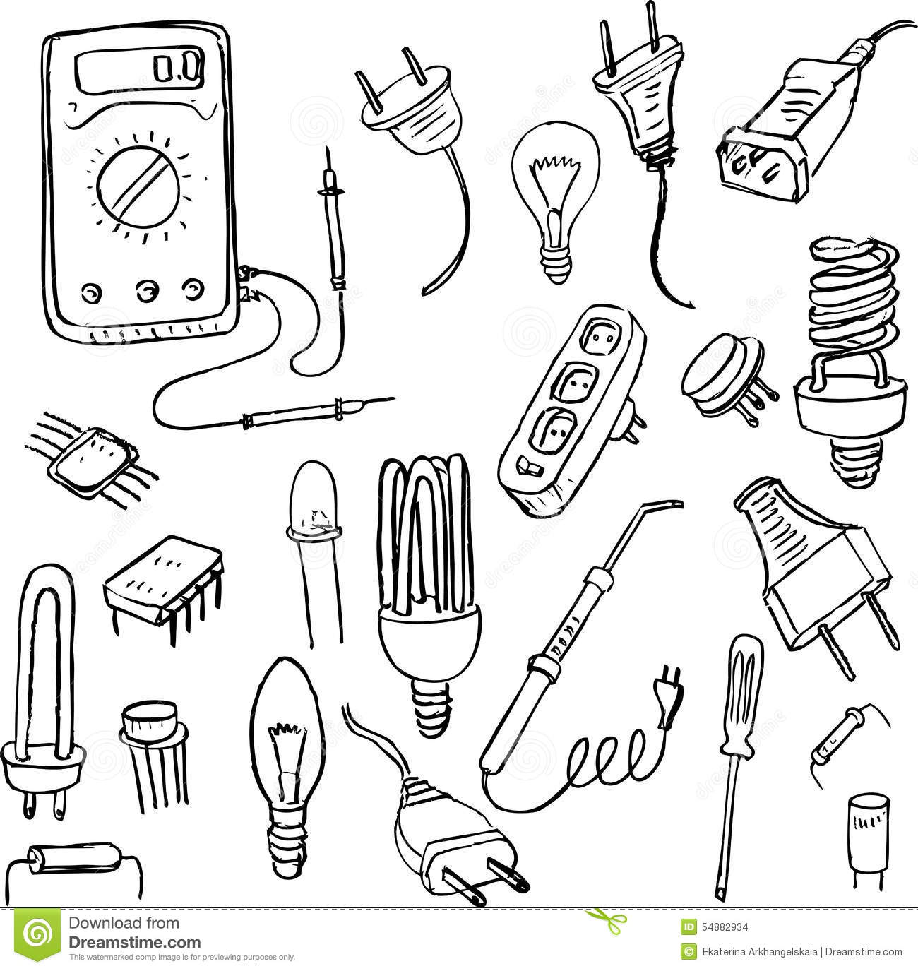 Electrical Doodle Set Stock Vector