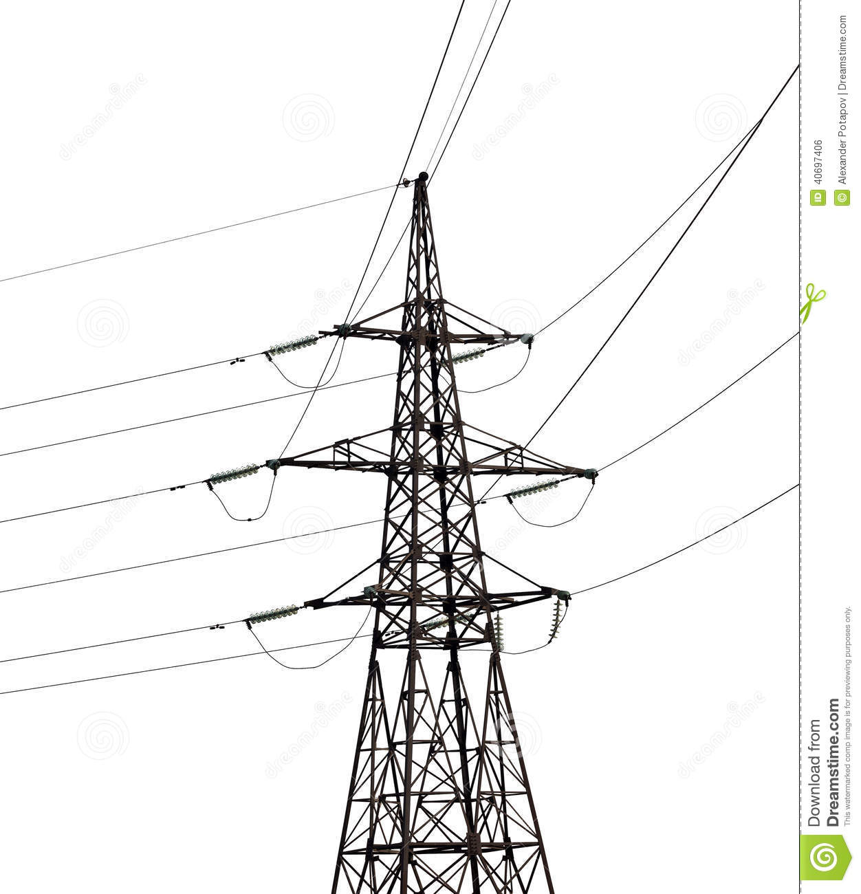 Electrical Pylon Isolated On White Background Stock Photo