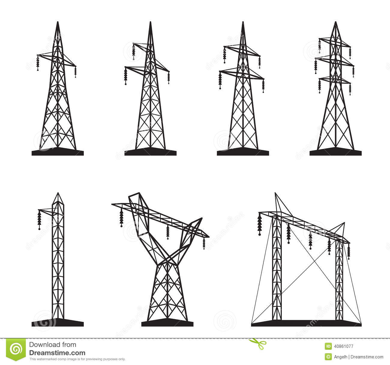 Electrical Transmission Tower Types Stock Vector