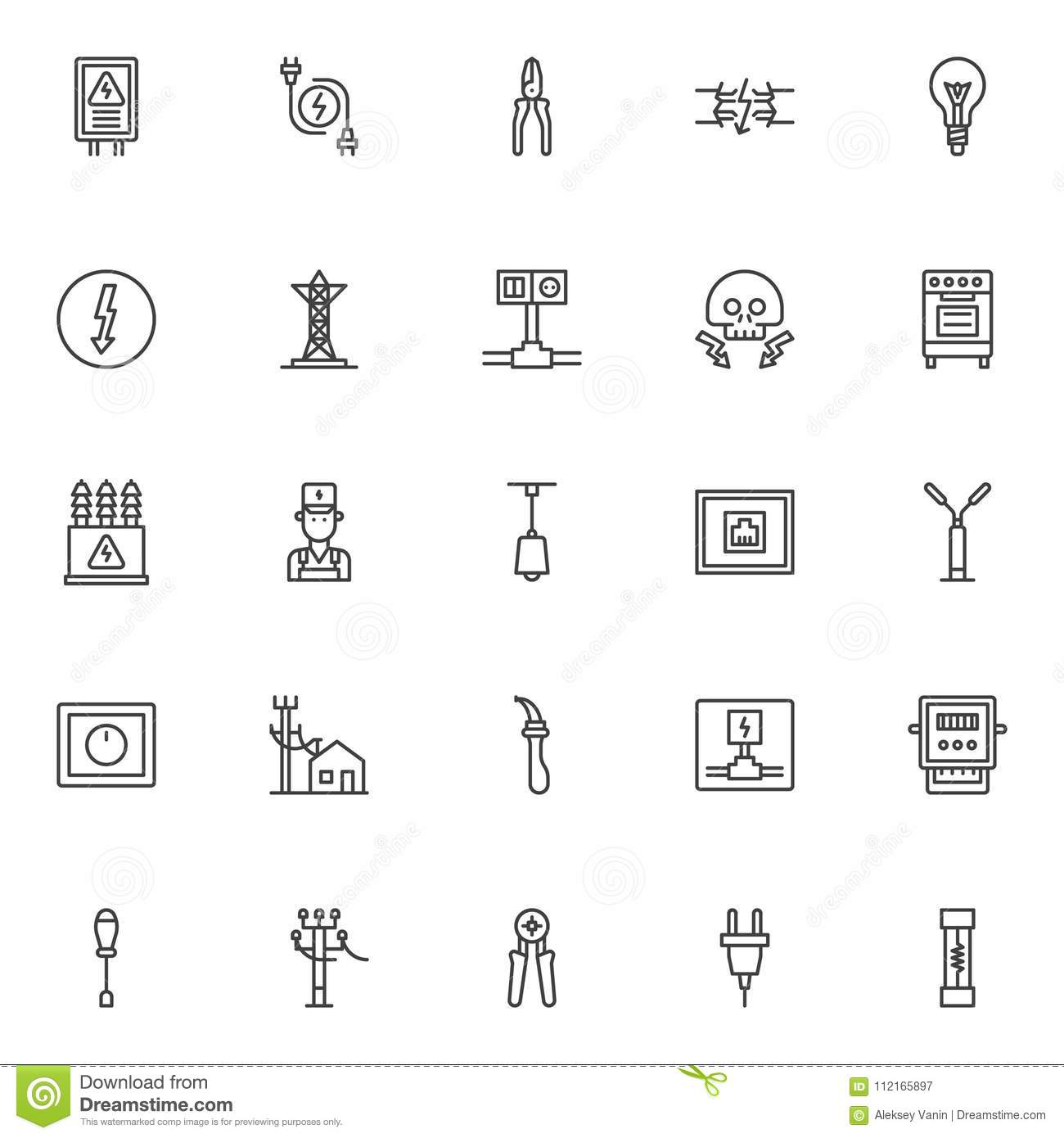Electrician Elements Outline Icons Set Stock Vector