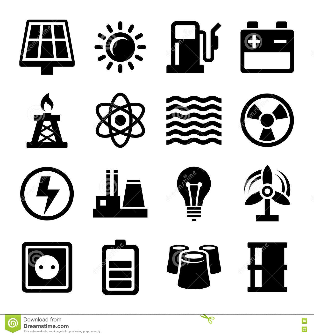 Electricity Energy And Power Icons Set Stock Vector