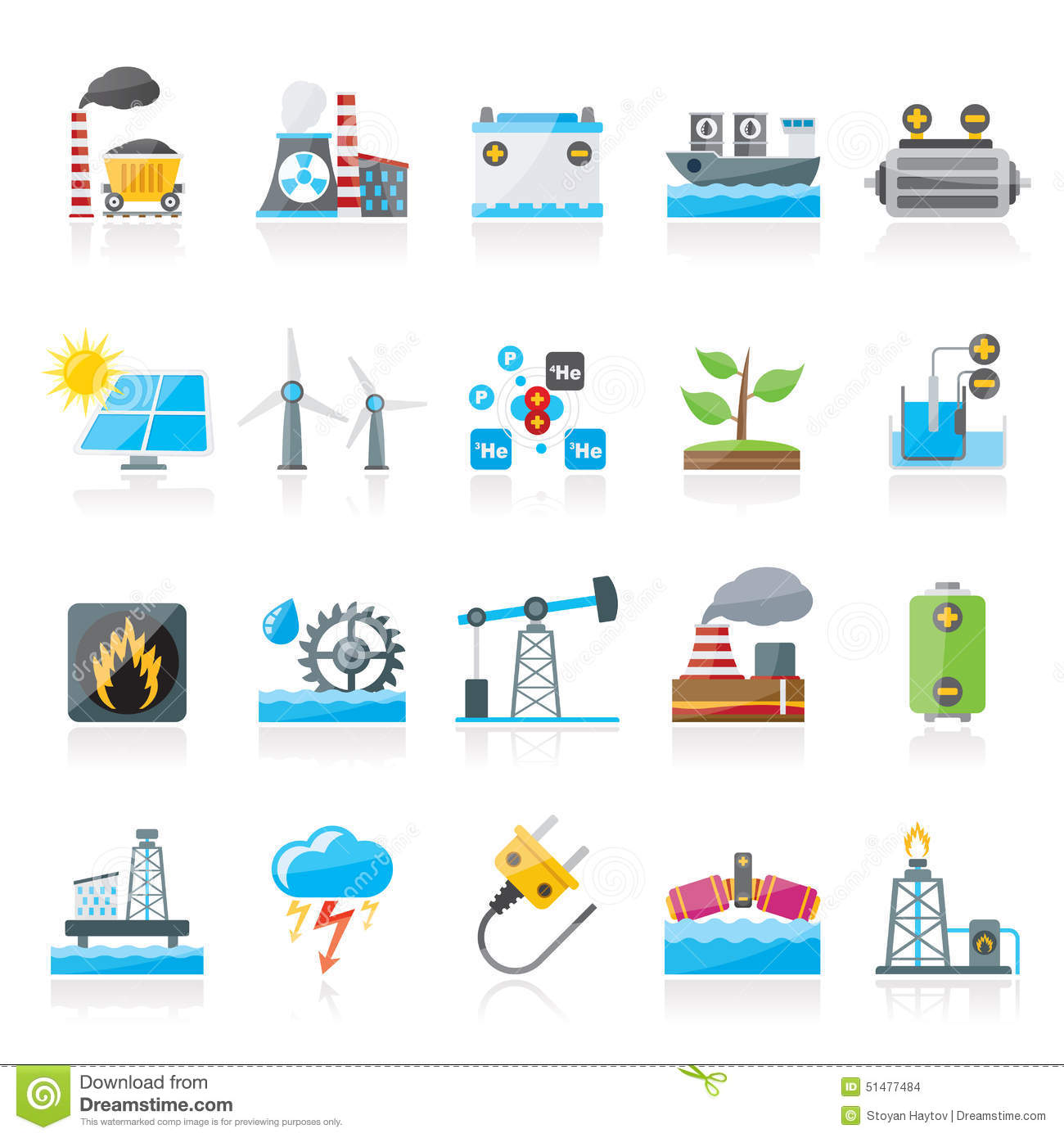 Electricity And Energy Source Icons Stock Vector