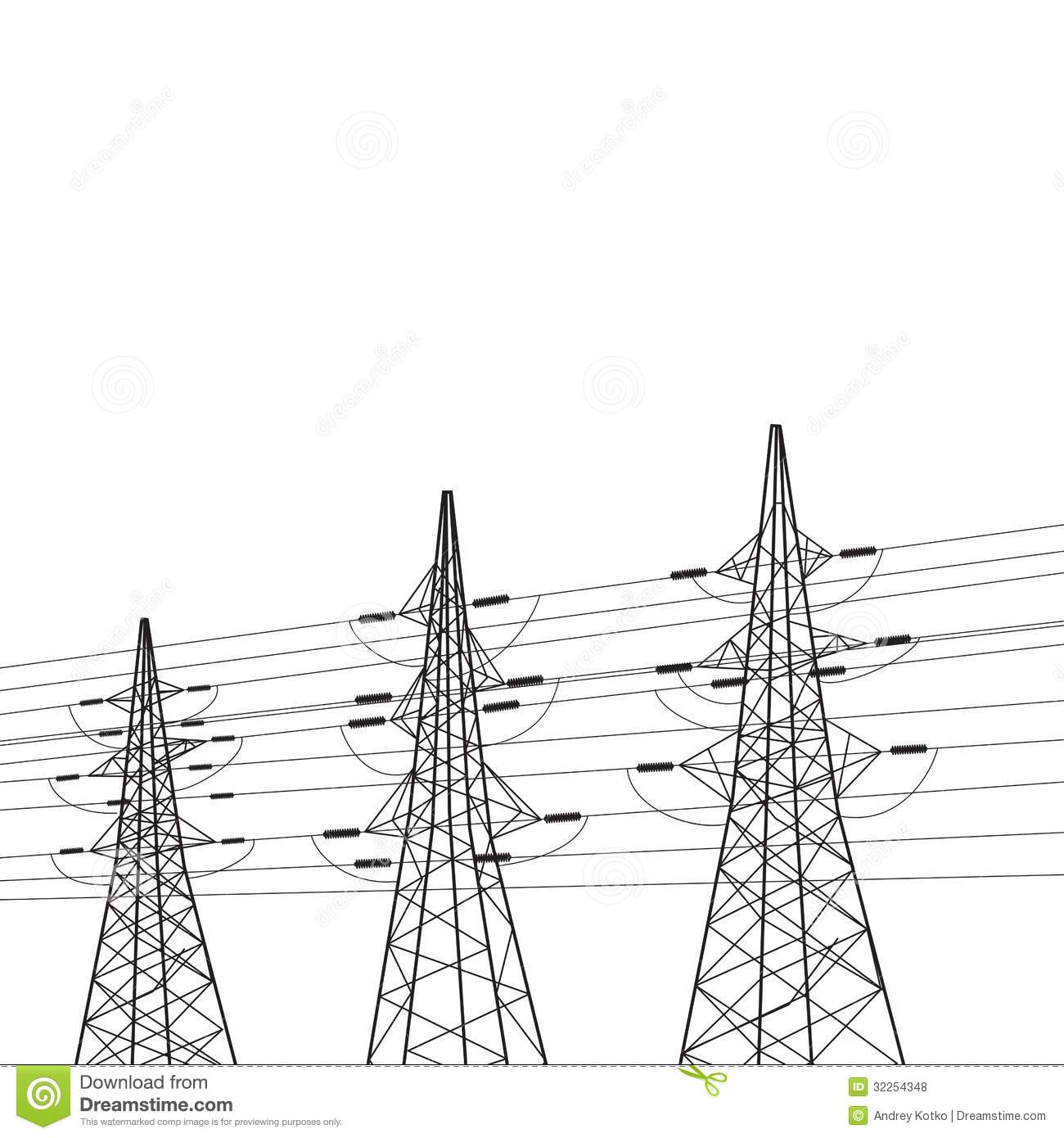 Electricity Pole Over White Stock Vector