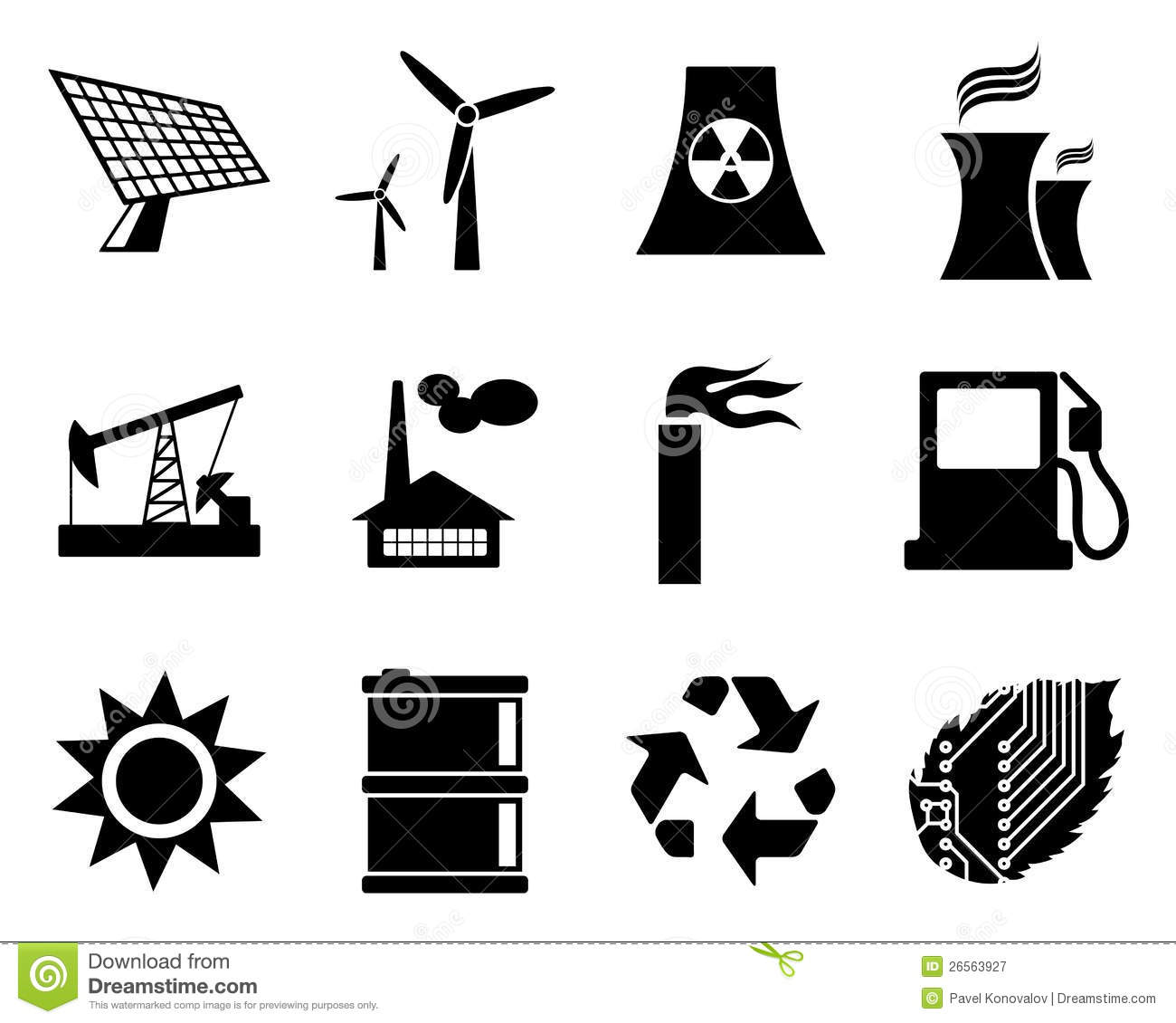 Electricity Power And Energy Icon Set Stock Vector