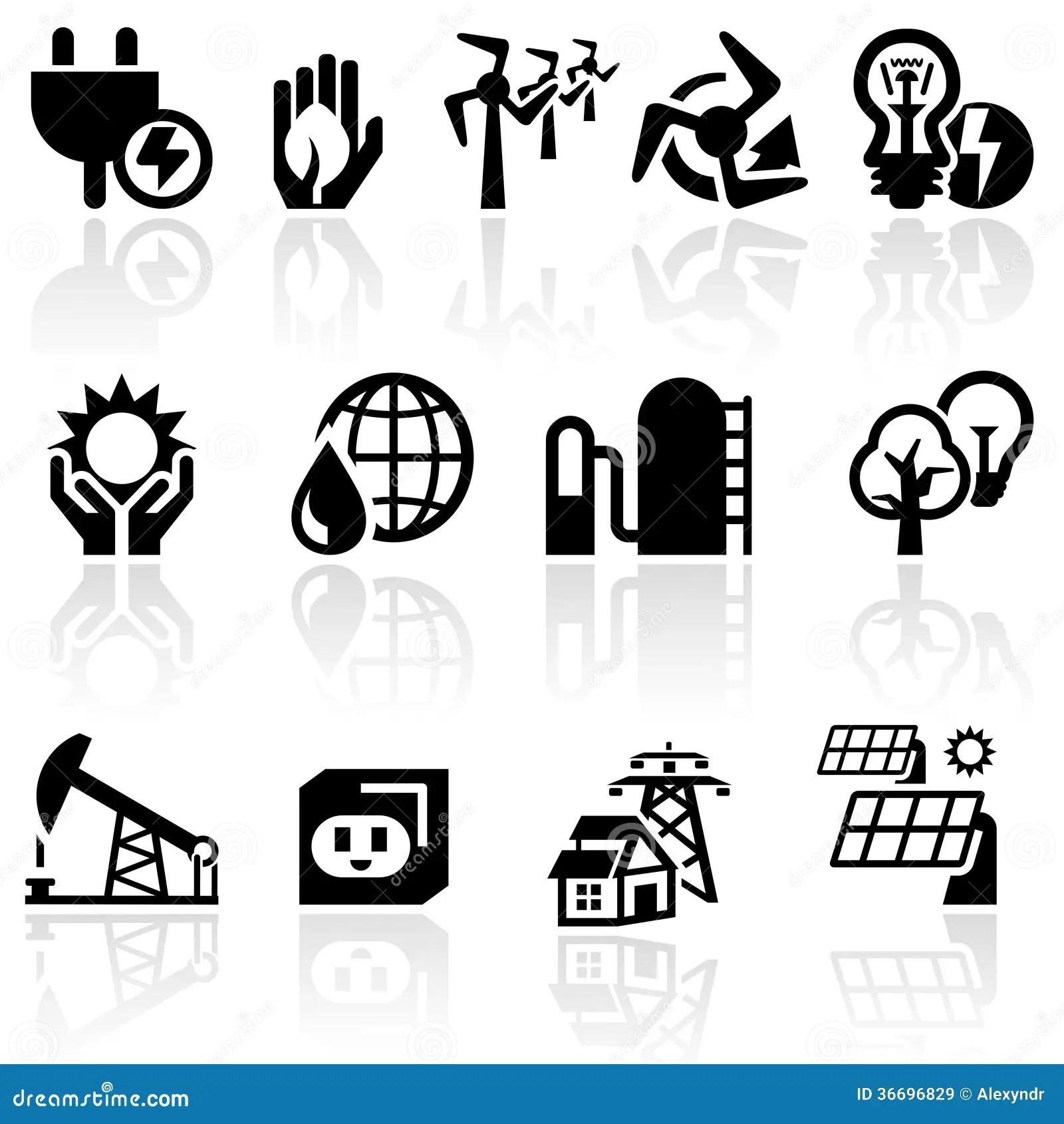 Electricity Vector Icon Set Stock Vector