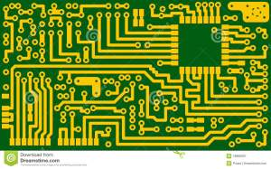 Electronic Green Circuit Background  Vector Eps8 Stock