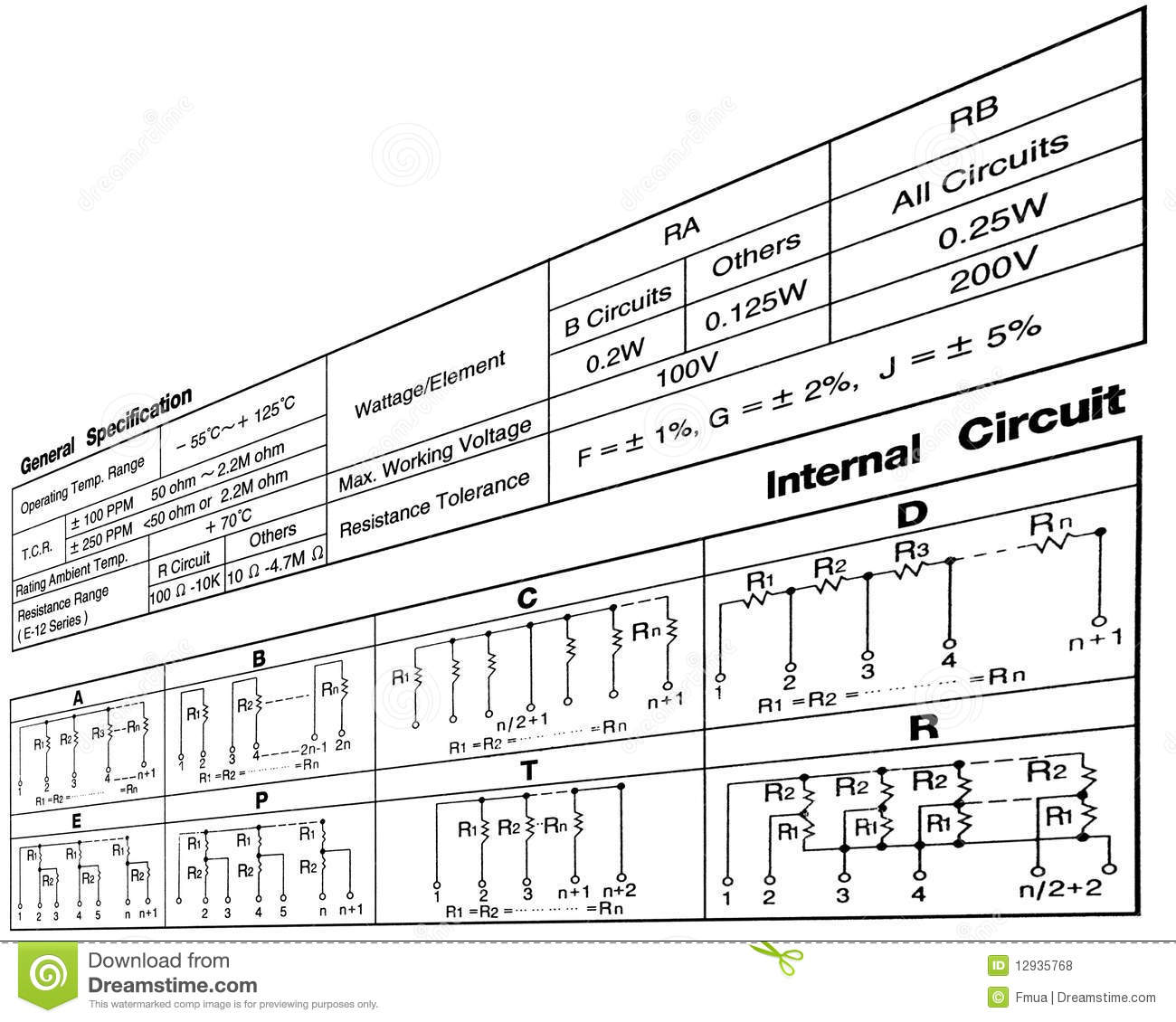 Electronic Resistance Circuit Diagram Connections Stock