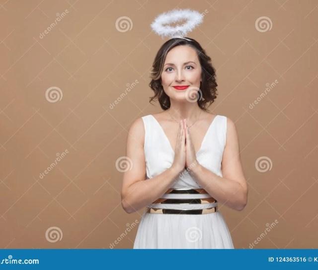 Elegant Angel Brunette Woman In White Dress And Nimbus In Top Of