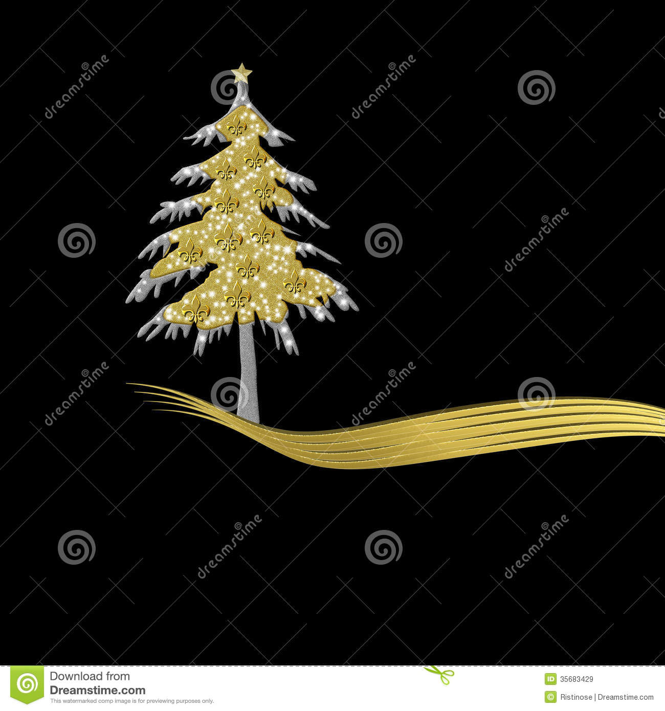 Elegant Christmas Card In Gold And Black Tree Ornament