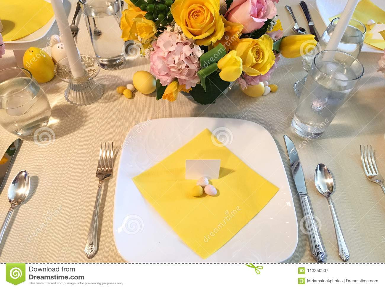 Elegant Easter Table Setting With Flowers, Dinner Plates