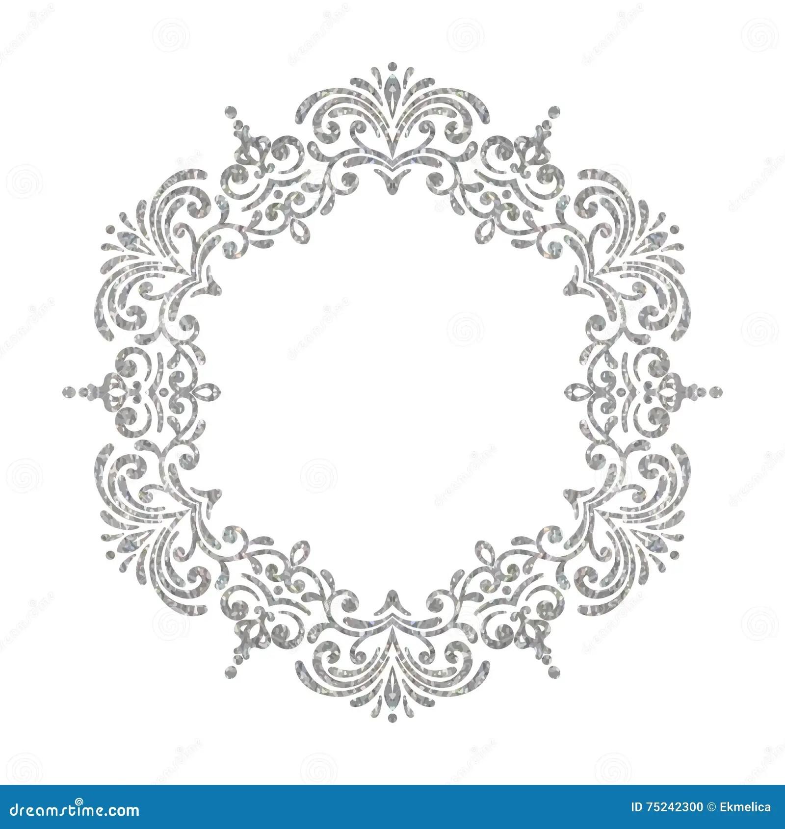 Elegant Luxury Vintage Circle Silver Floral Frame Stock