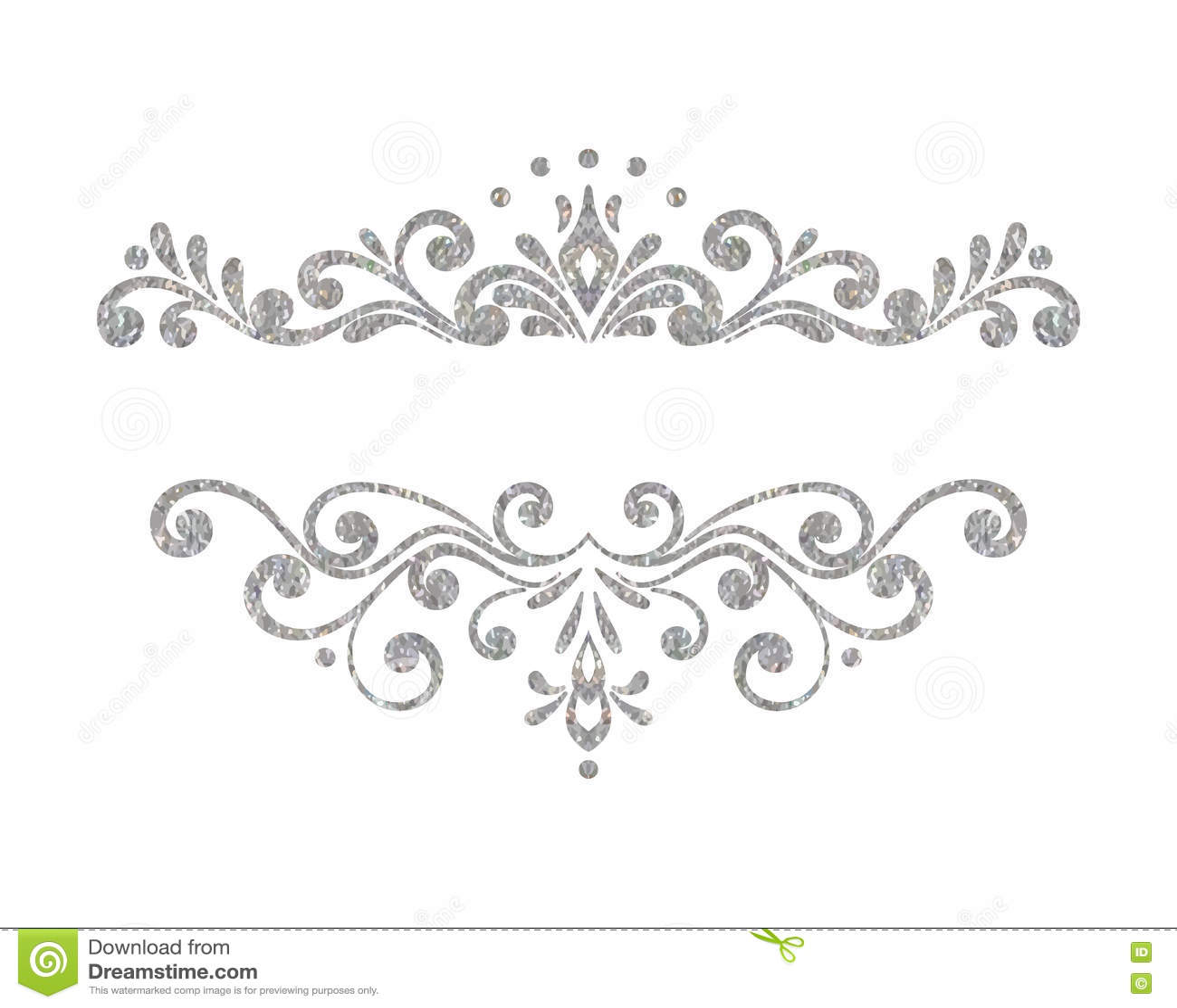 Elegant Luxury Vintage Silver Floral Border Stock Vector