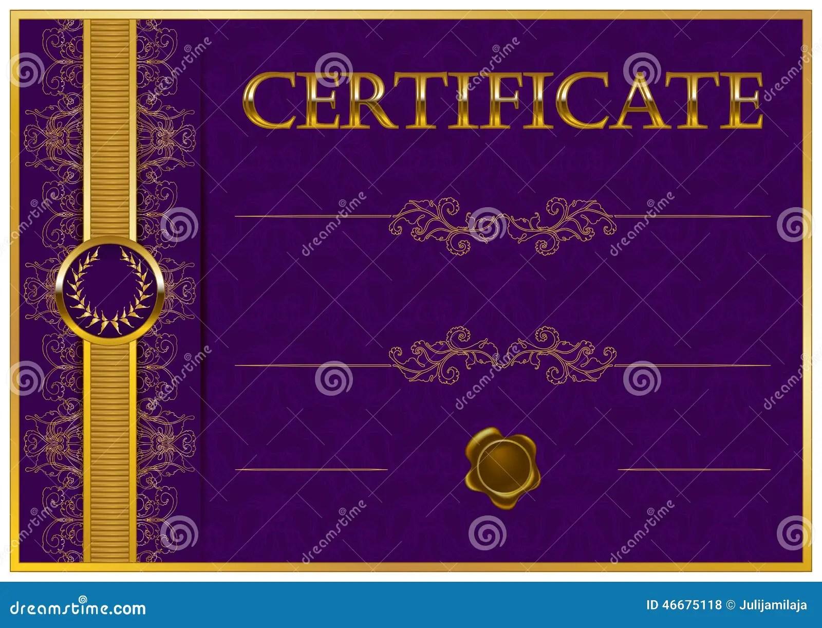 Elegant Template Of Certificate Diploma Stock Vector Image 46675118