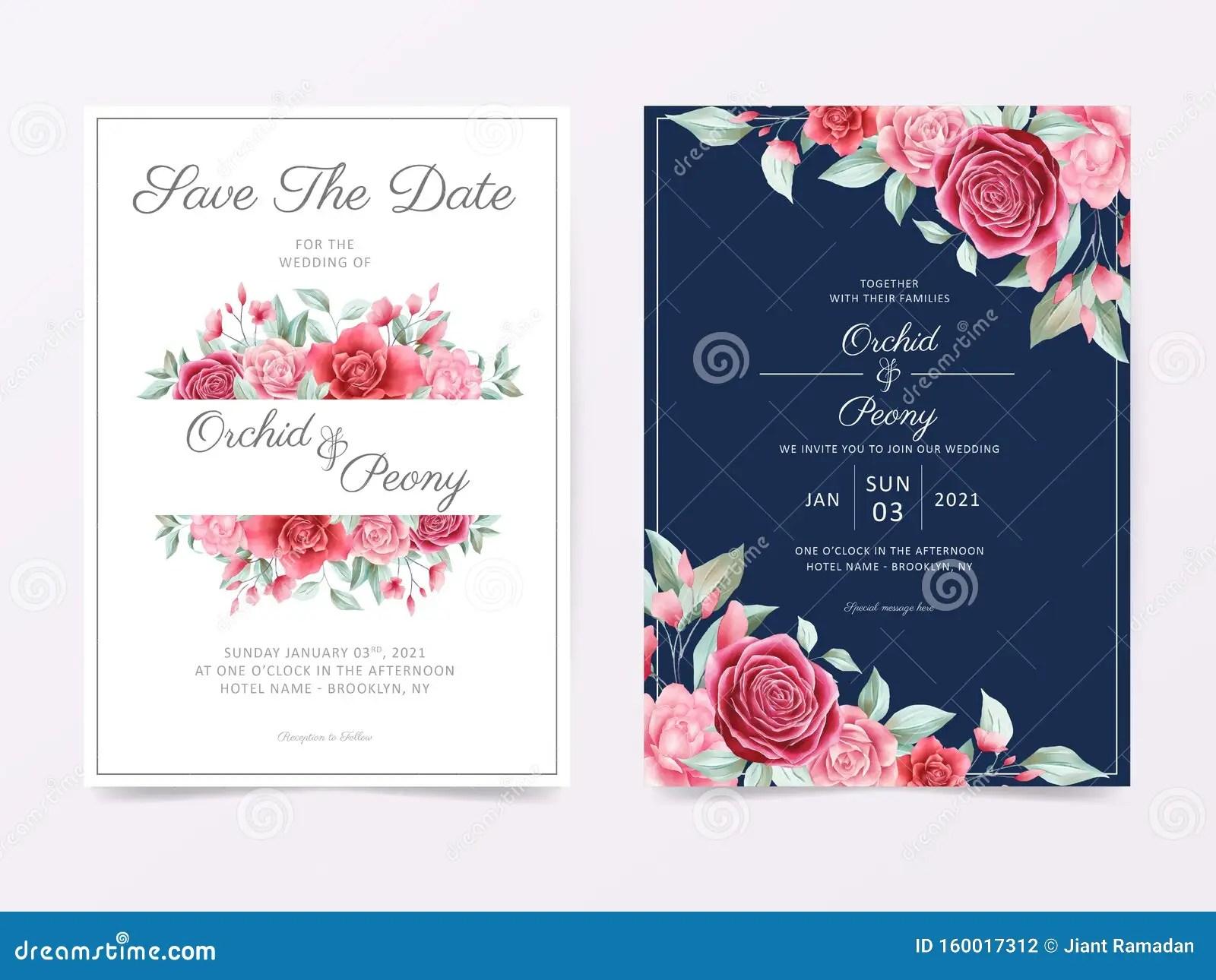 https www dreamstime com elegant wedding invitation card template set floral frame border decoration garden roses peonies cards background image160017312