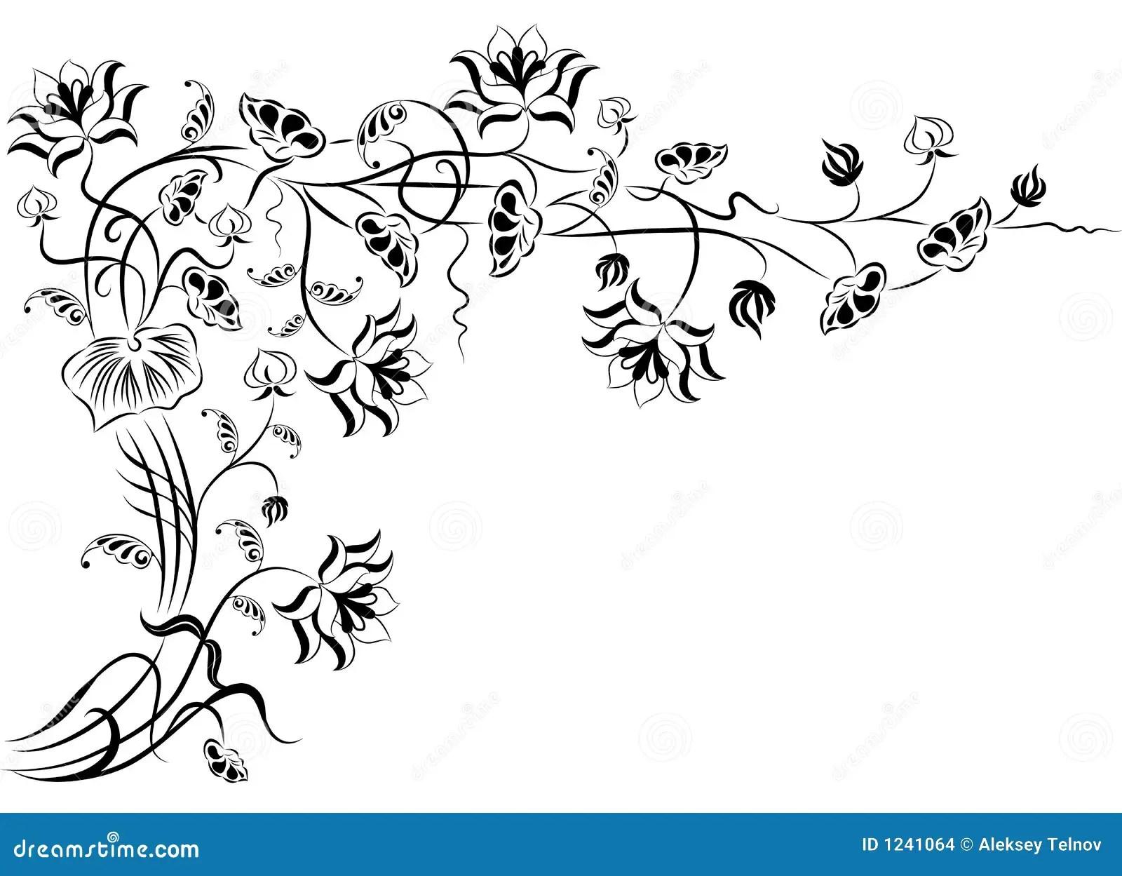 Elemento Per Il Disegno Fiore D Angolo Vettore