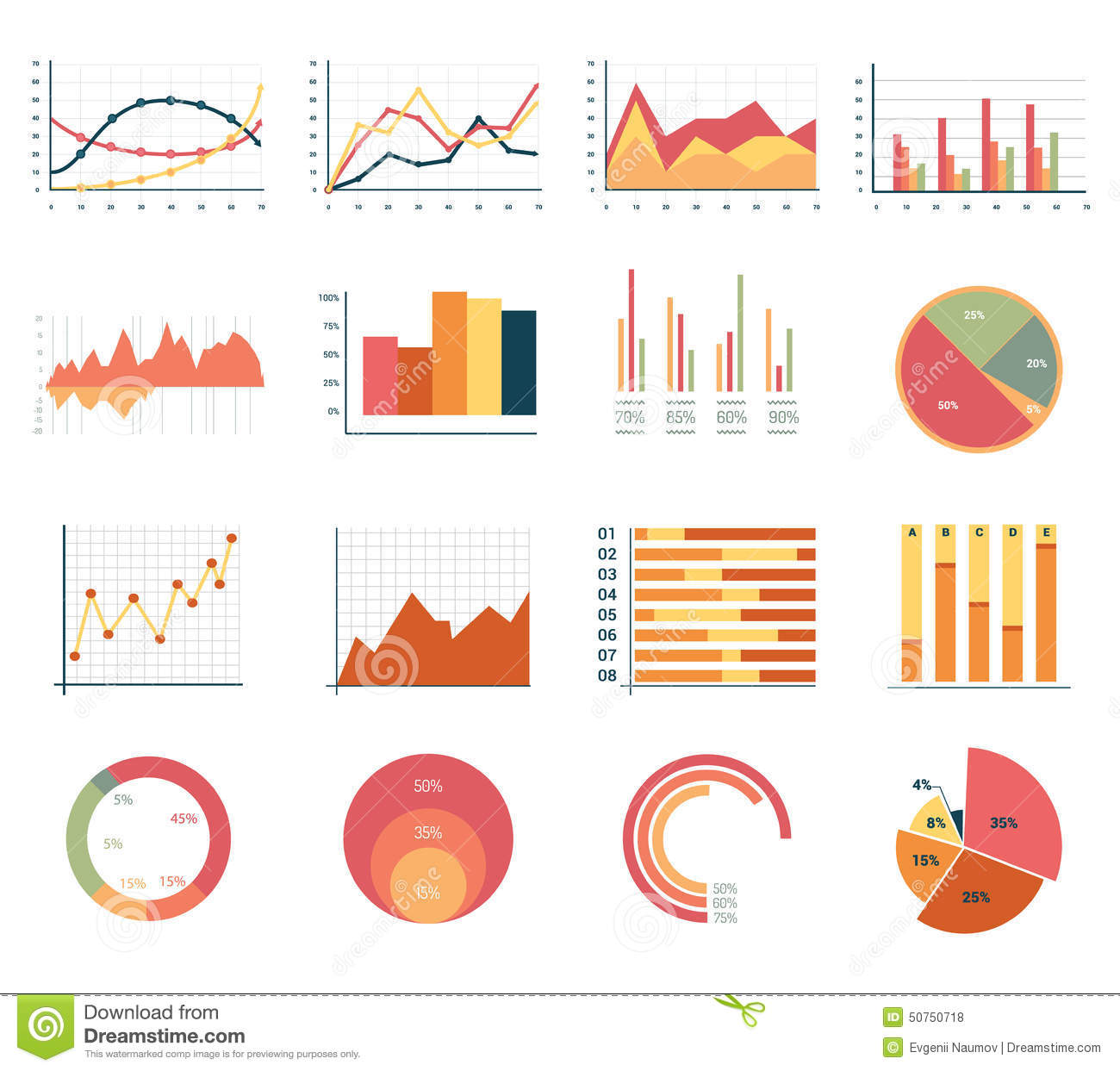 Elements For Infographics Charts Graphs Flat Stock