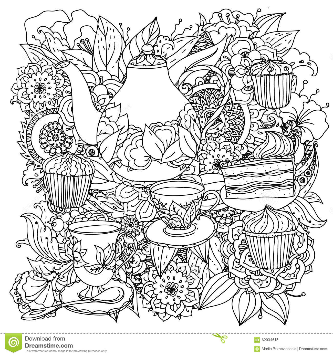 With Elements Of Time For Tea Stock Vector Image 62034615