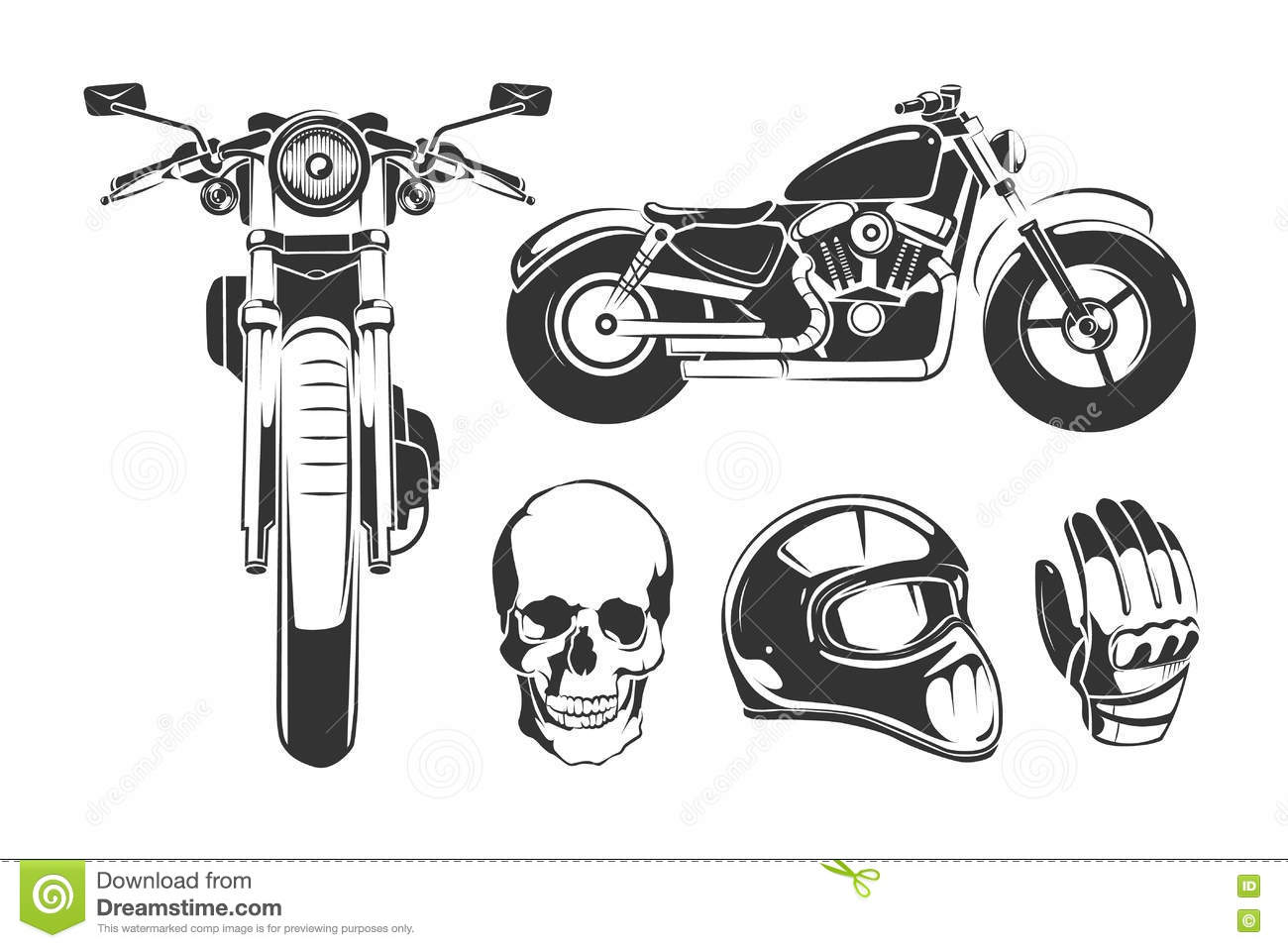 Elements For Vintage Vector Motorcycle Labels Stock Vector