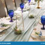 Elements Of Wedding Decoration In Restaurant Green And Blue Color Stock Photo Image Of Beautiful Celebration 135947962