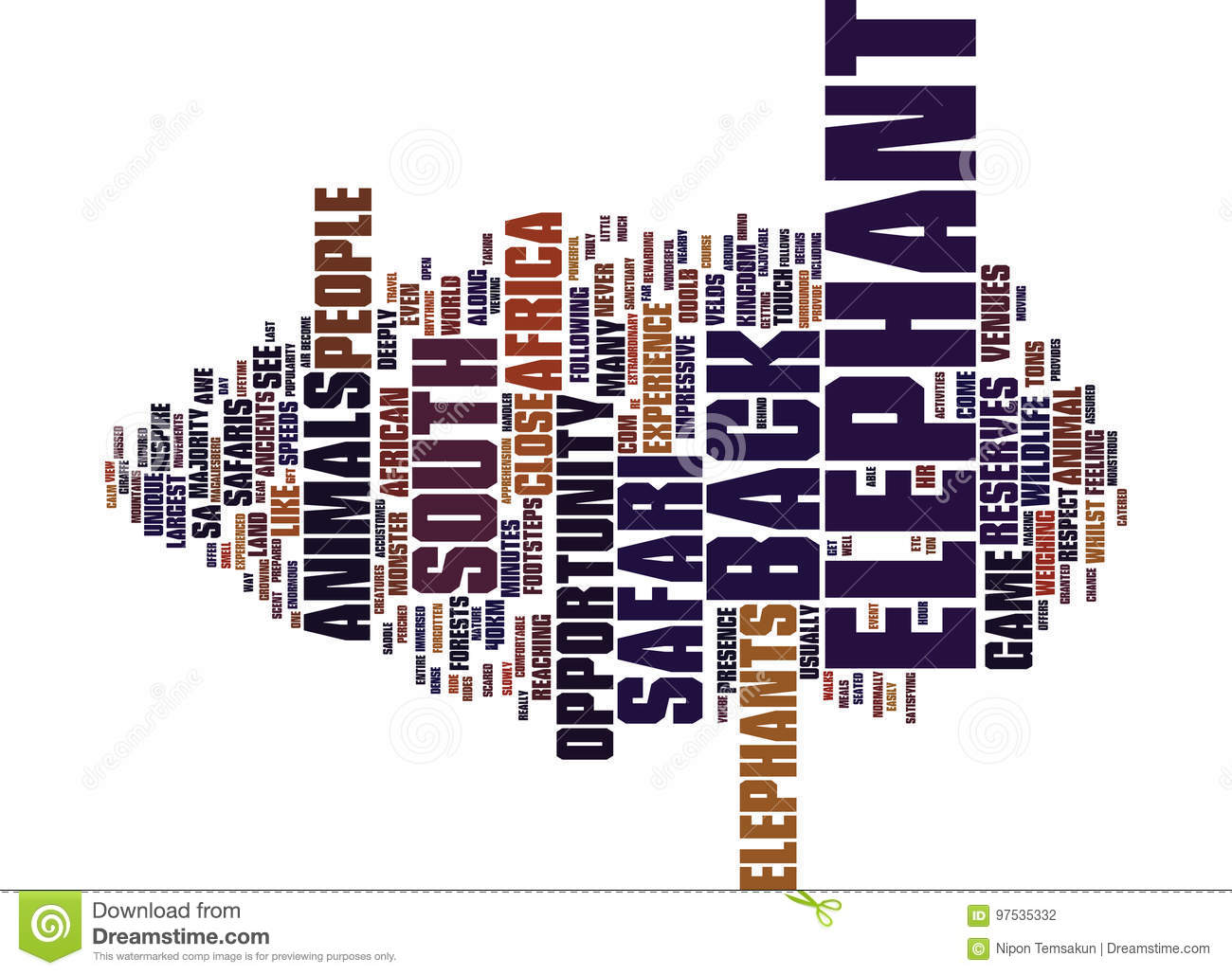 Elephant Back Safaris In South Africa Word Cloud Concept