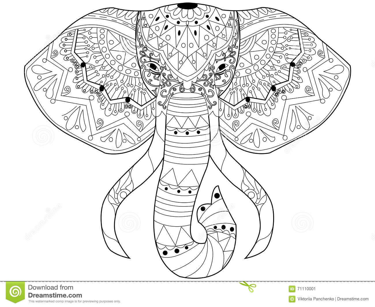 Elephant Coloring Vector For Adults Stock Vector
