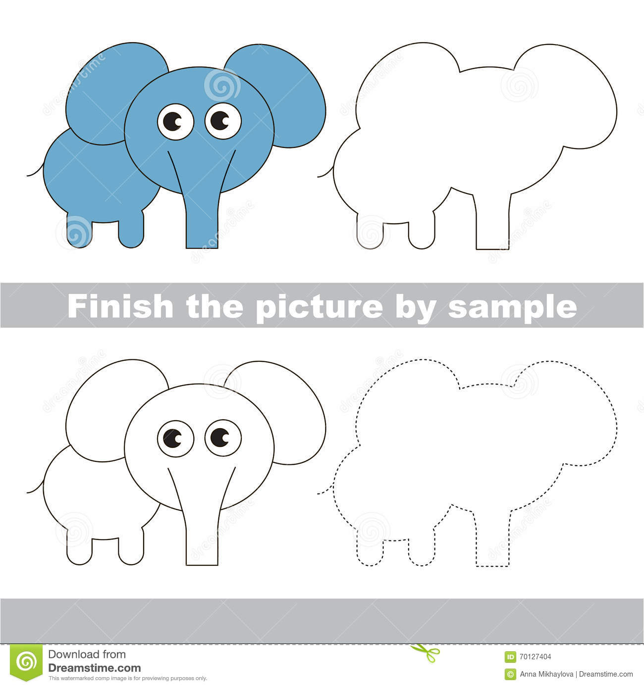 Elephant Drawing Worksheet Stock Vector