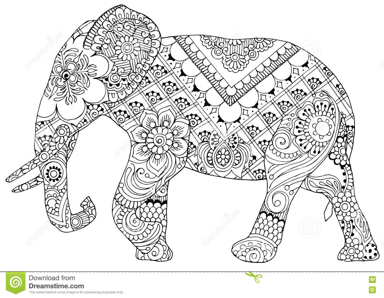 Elephant With Indian Patterns Stock Vector