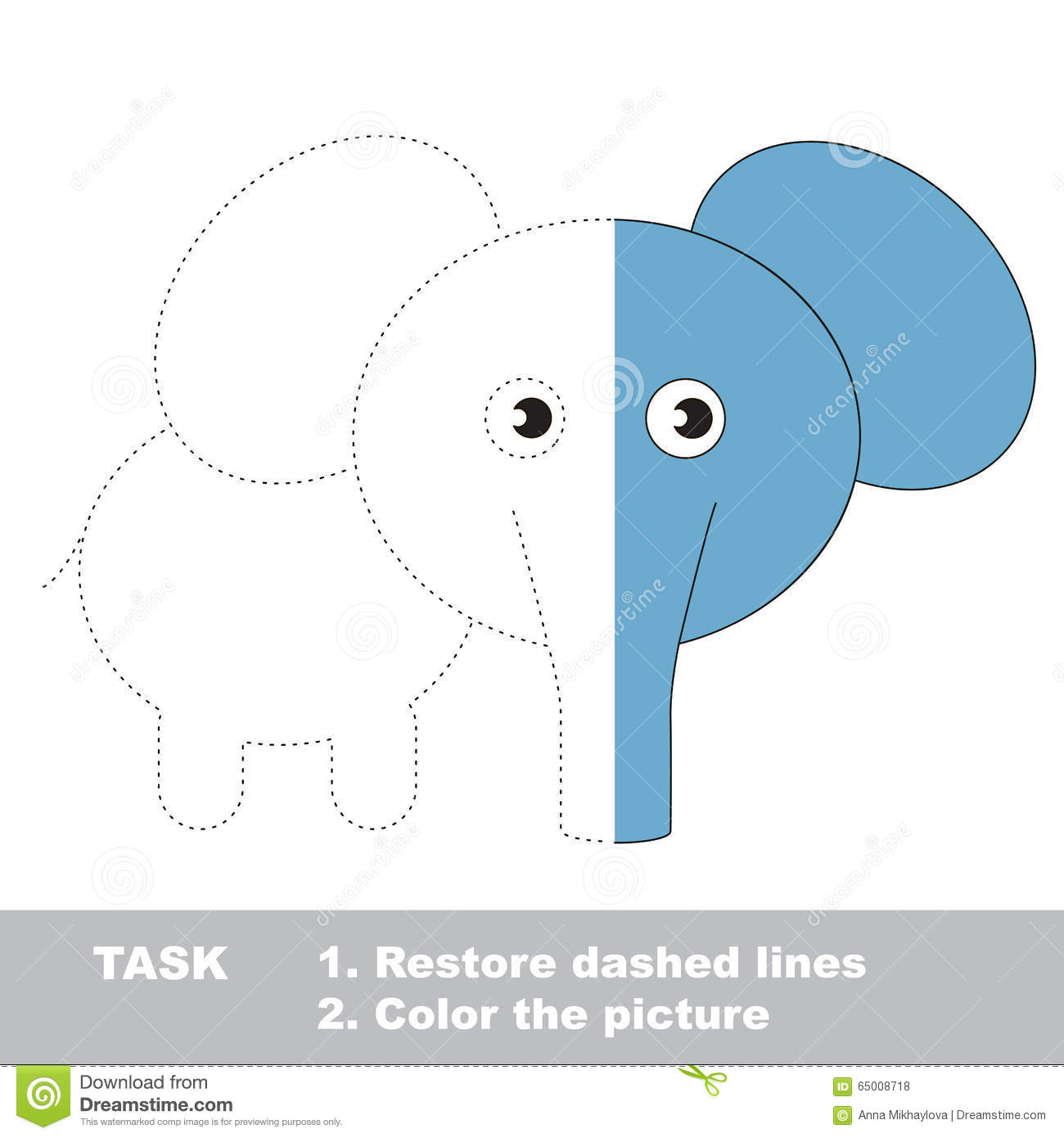 Elephant To Be Colored Vector Trace Game Stock Vector